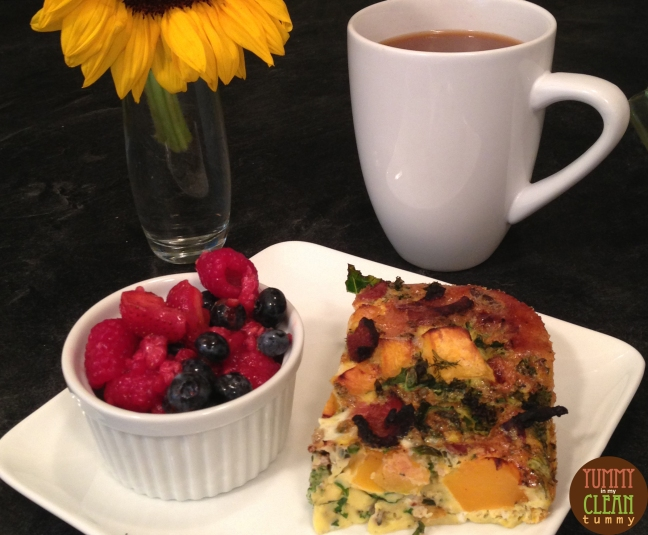 Butternut Squash Kale and Bacon Egg Bake | Yummy in my Clean Tummy