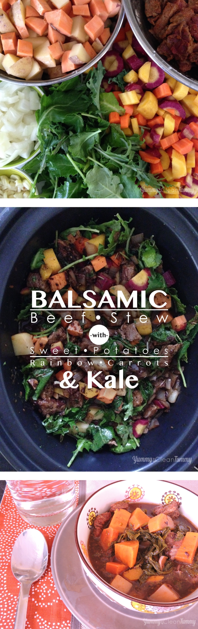 Balsamic Beef Stew with Sweet Potatoes, Rainbow Carrots and Kale | Yummy in my Clean Tummy.com