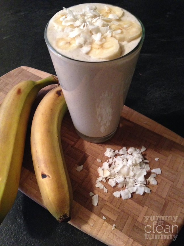 Banana Coconut Cream Pie Protein Smoothie | Paleo, Vegan, Organic and Gluten Free Recipe | Yummy in my Clean Tummy